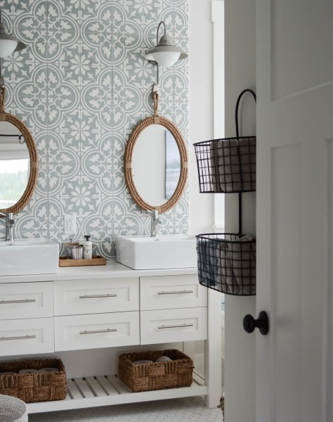 bathroom cement tile wall