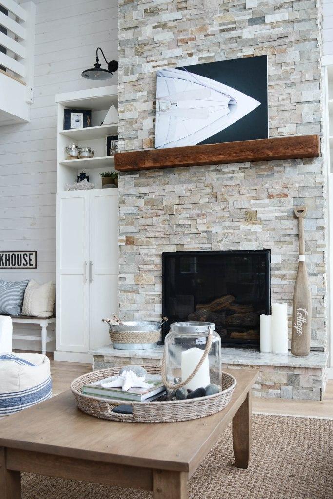lakehouse coastal cottage fireplace