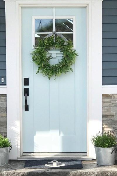 Front Door Design - craftsman front door painted blue