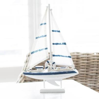 JanieJute Modern Coastal decorative wood sailboat