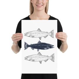 JanieJute Modern Coastal art print of 3 fish
