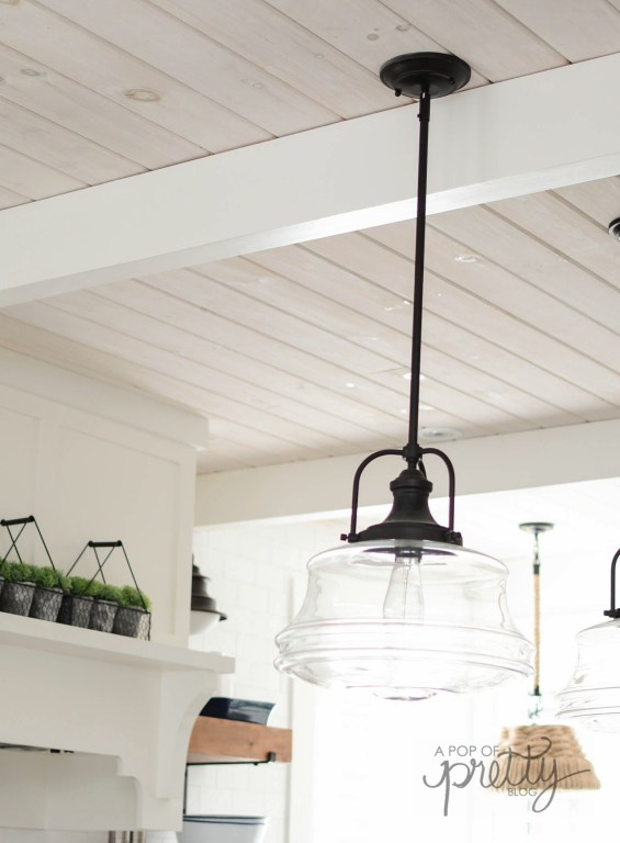 Pine shiplap ceiling with white wash
