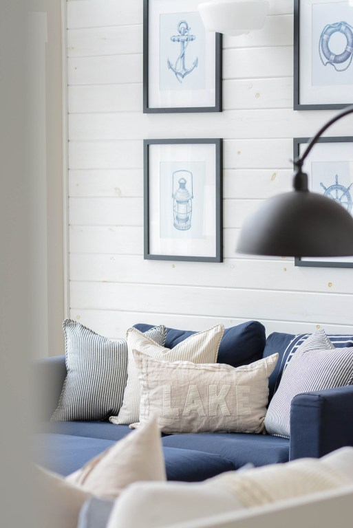 Coastal cottage lake house pillows for living room