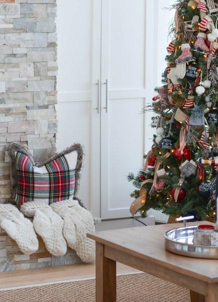 plaid pillow cottage Christmas