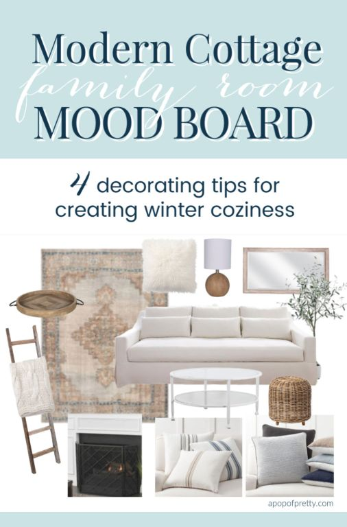 Modern Cottage Family Room Mood Board