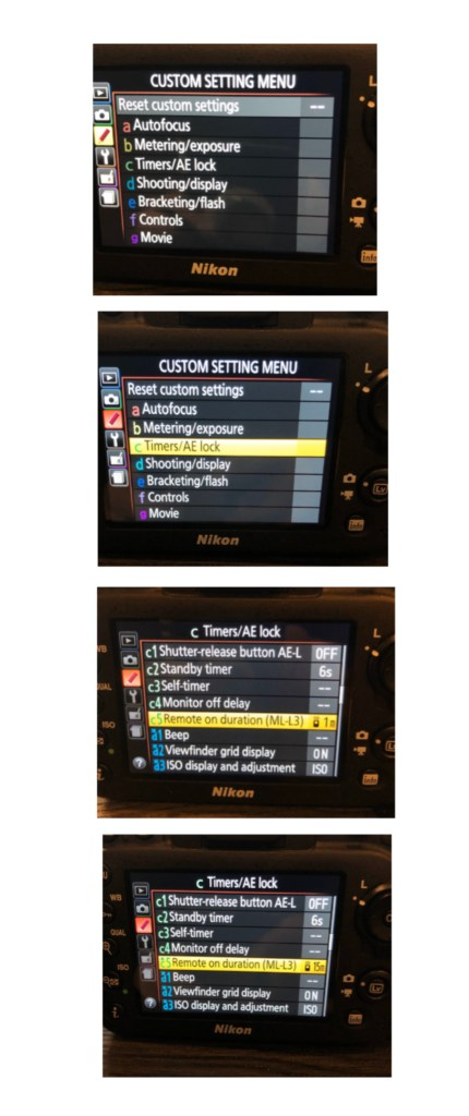 Nikon settings for remote control timer