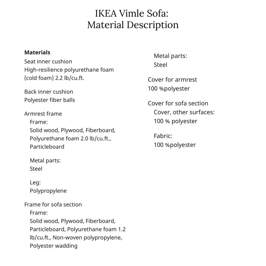 IKEA sofa materials