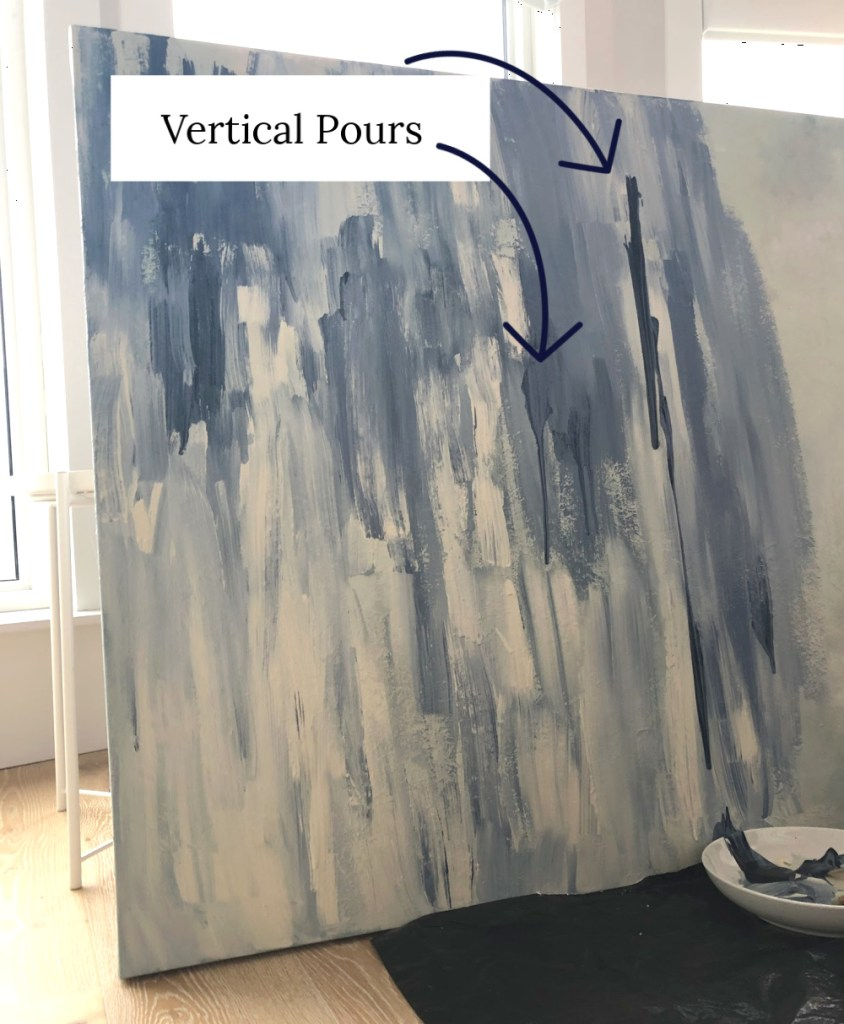 Vertical pour abstract painting technique