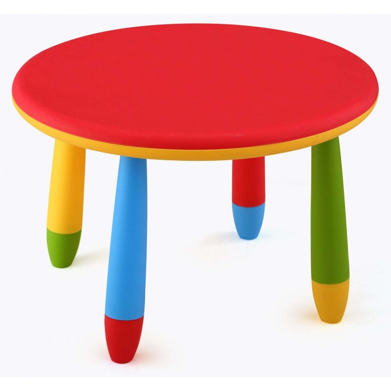 Mesa infantil de colores redonda fabricada en plstico