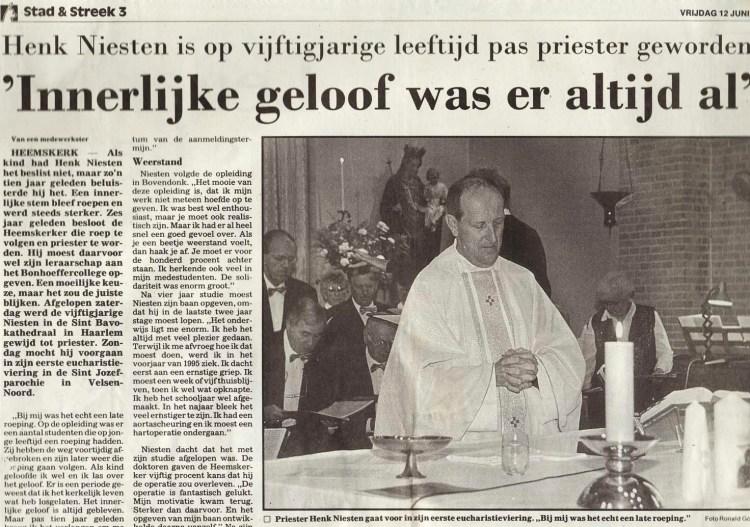 Henk Niesten, priesterwijding