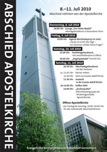 Veranstaltungen zum Abschied von der Apostelkirche