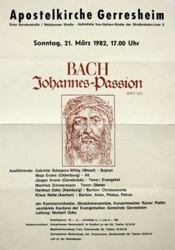 Plakat Johannes-Passion von 1982