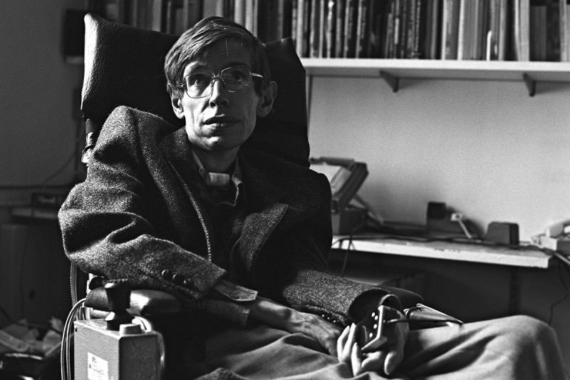 A black and white photo of the physicist Stephen Hawking