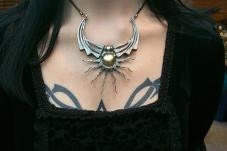 Winged Sun Necklace. Horseshoe nail Jewellry-Dan Riegler-1999?, Horseshoe nails and brass