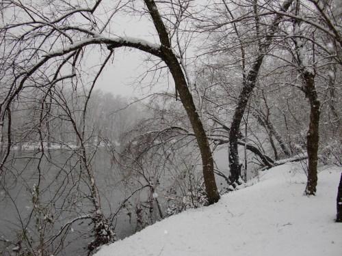 Snow scene on the Shenandoah River: March 5, 2013.