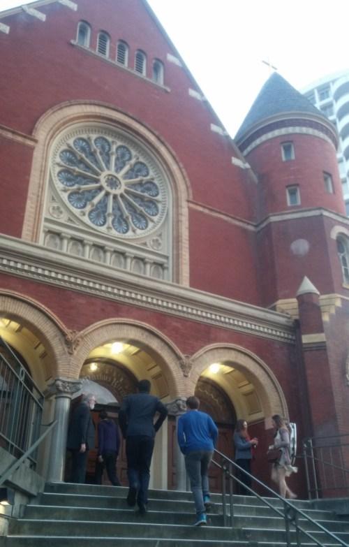 Jacob, Jonathan, and Eli enter a church