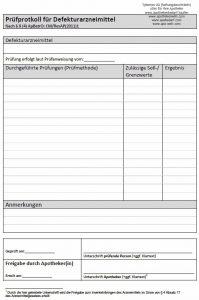 Prüfprotokoll Defektur - .pdf kann im Download-Bereich kostenfrei heruntergeladen werden