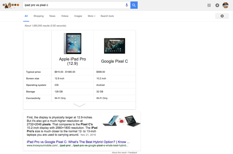 Google now displays a card to match merchandise in seek effects