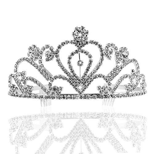 PIXNOR Wedding Prom Bridal Crown Rhinestone Crystal Decor