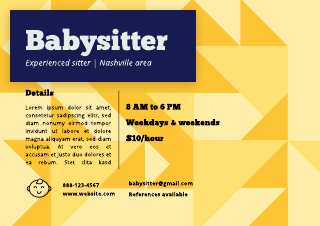Completely customizable, there's space for your photographs, text and contact information to give it a special touch. Free Babysitting Flyer Templates Examples