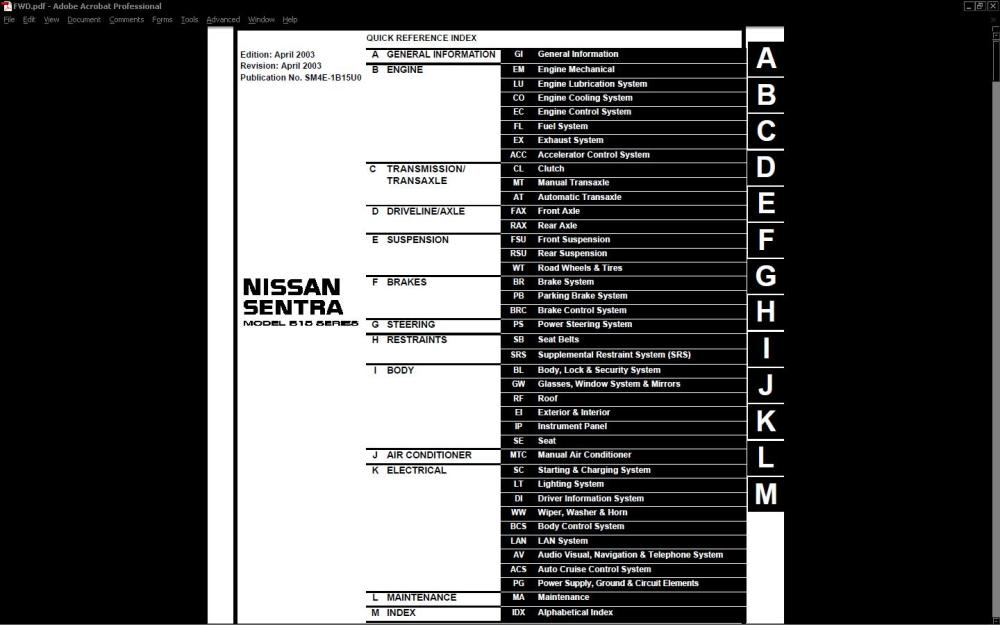 medium resolution of nissansentra shop service manual orig 210 frontpage 953f8 jpg