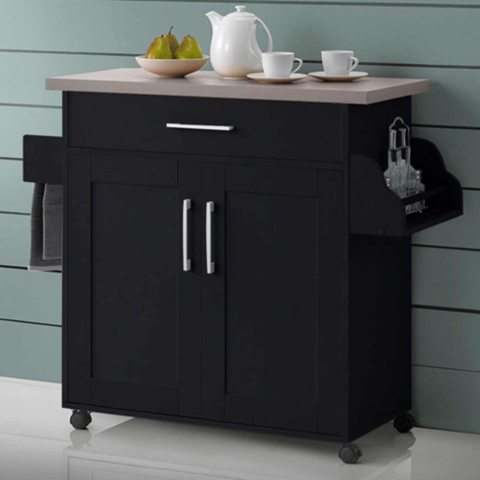 Details About Kitchen Carts With Storage And Drawers 2 Door Bar Brown Rolling On Wheels Island