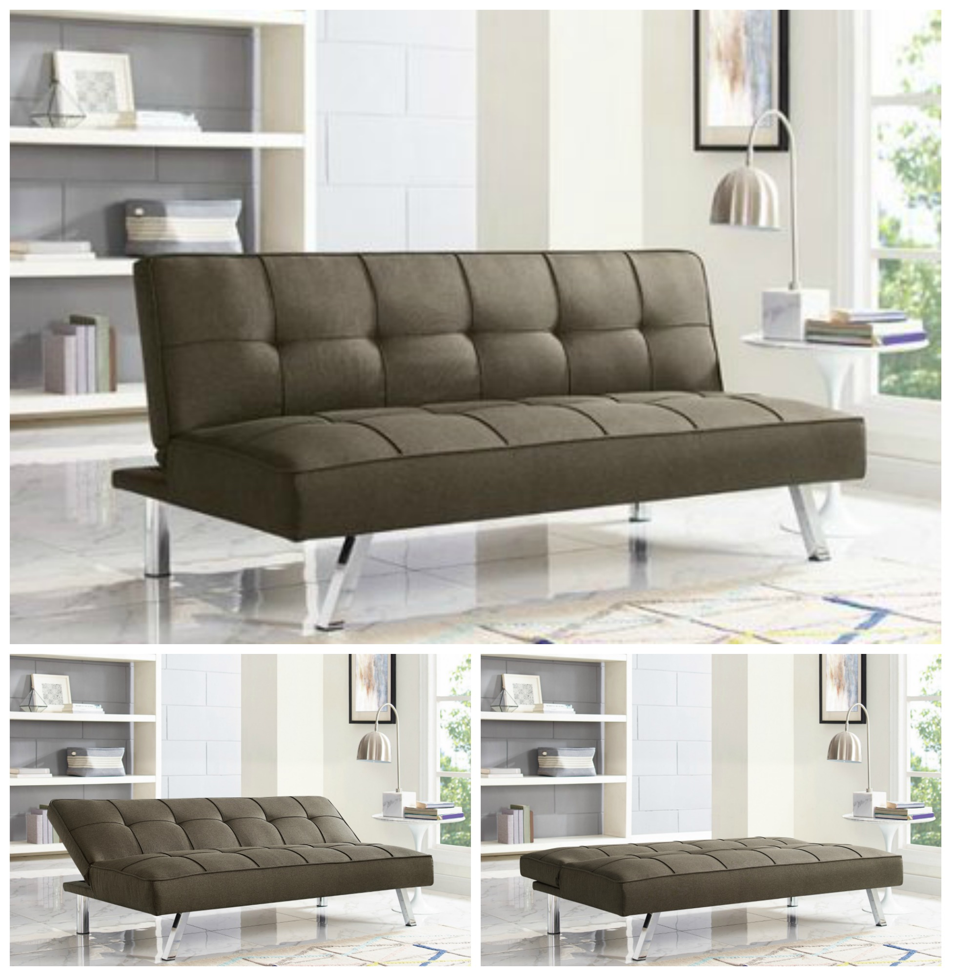 Details About Sleeper Sofa Bed Brown Convertible Couch Modern Living Room Futon Loveseat Chair