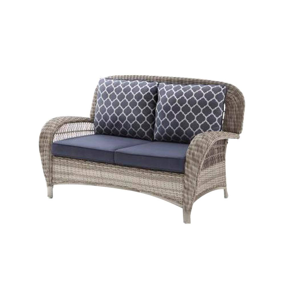 details about beacon park gray wicker outdoor patio loveseat with standard midnight trellis