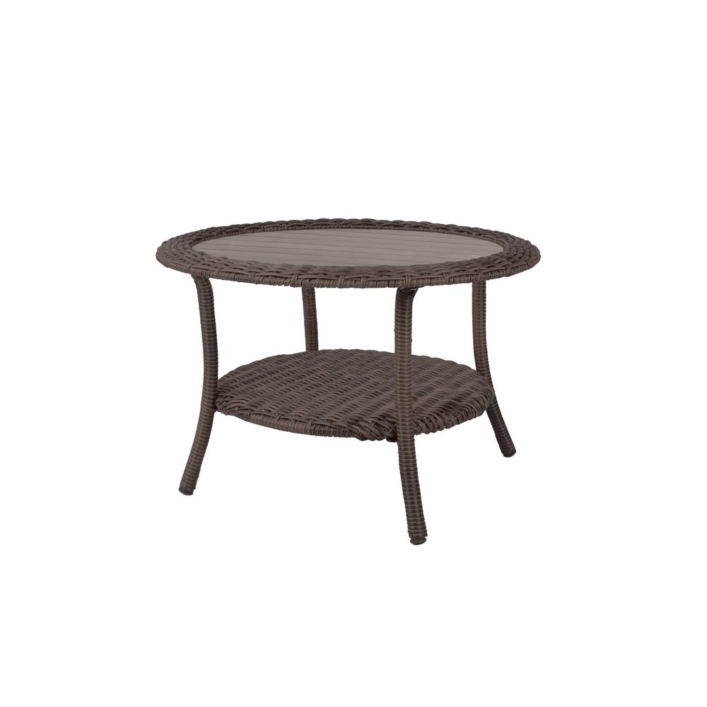 details about cambridge brown round wicker outdoor coffee table