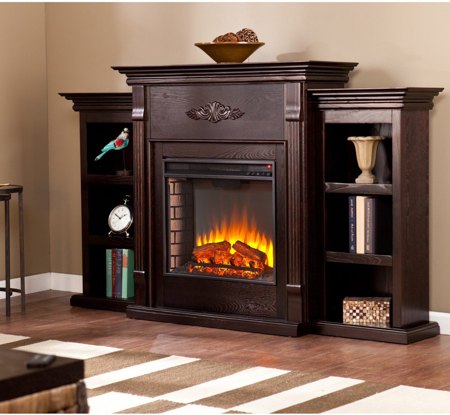 Details About Espresso Electric Fireplace Wood Tv Stand Bookcase Shelf Remote Control Heater