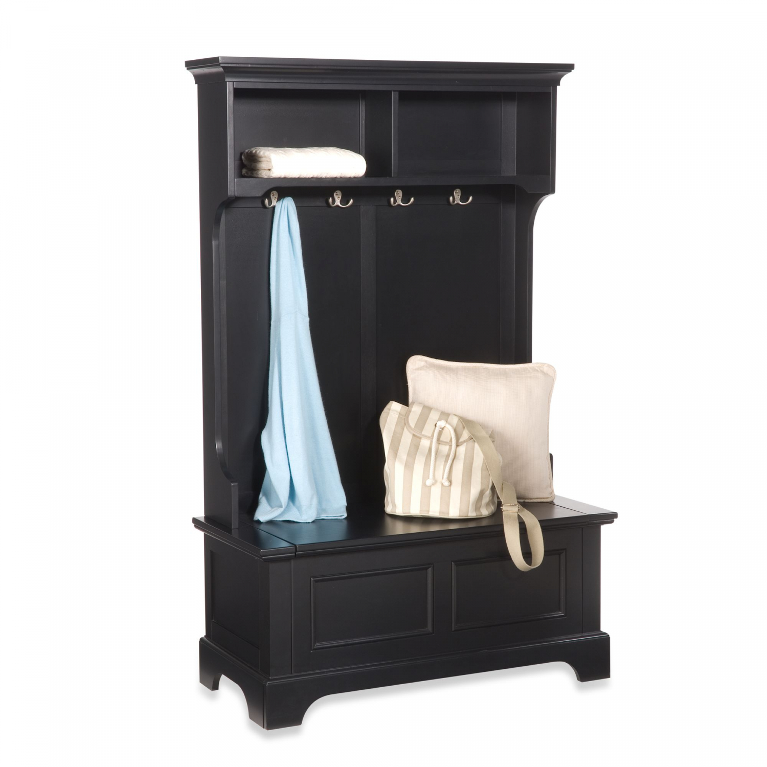 Hall Tree Kit Front Entryway Bench With Coat Rack Shoe Storage Black Farmhouse Ebay