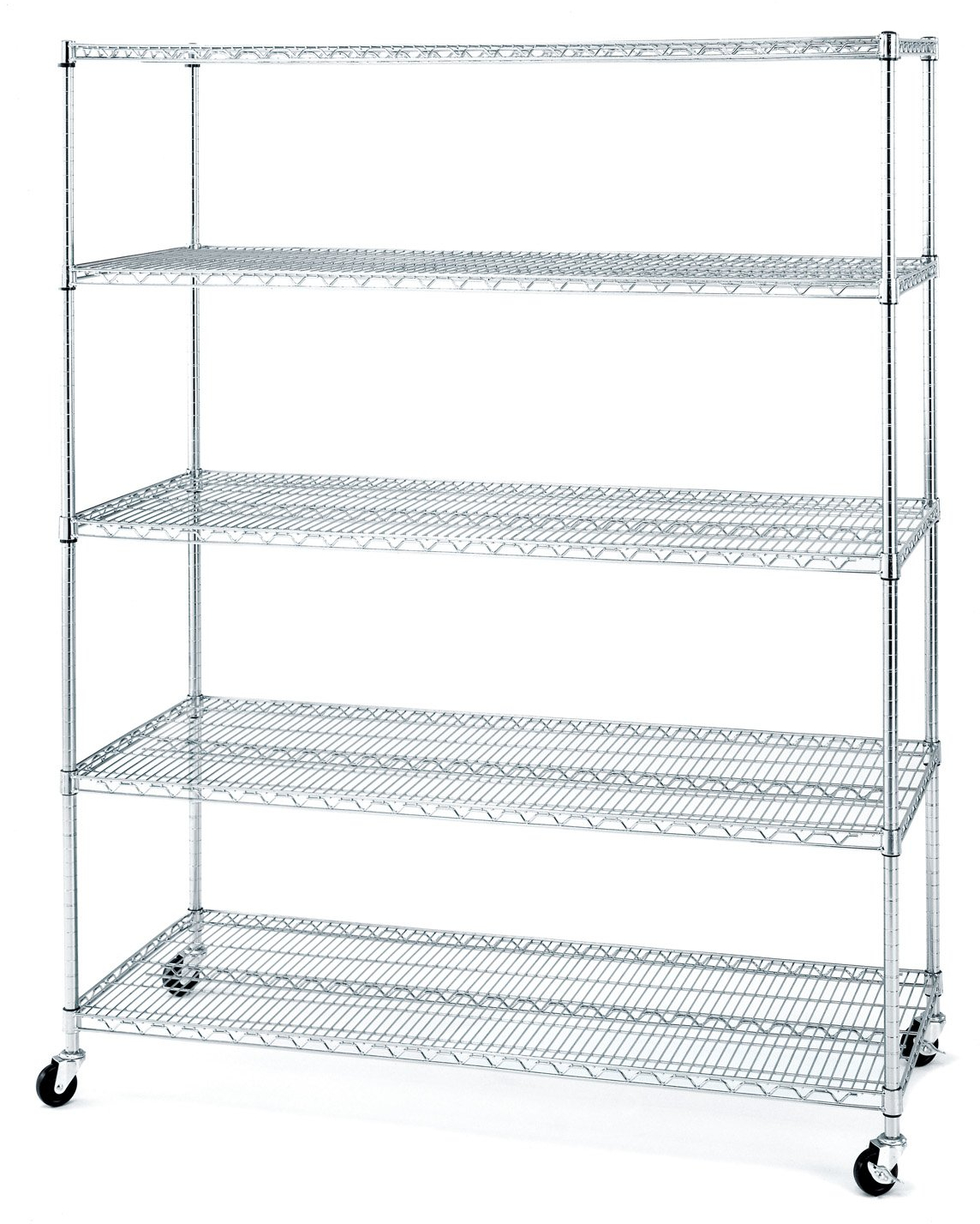 Details About 5 Tier Large Shelving Unit Chrome Wire Shelf Rolling Storage Rack Steel Shelves