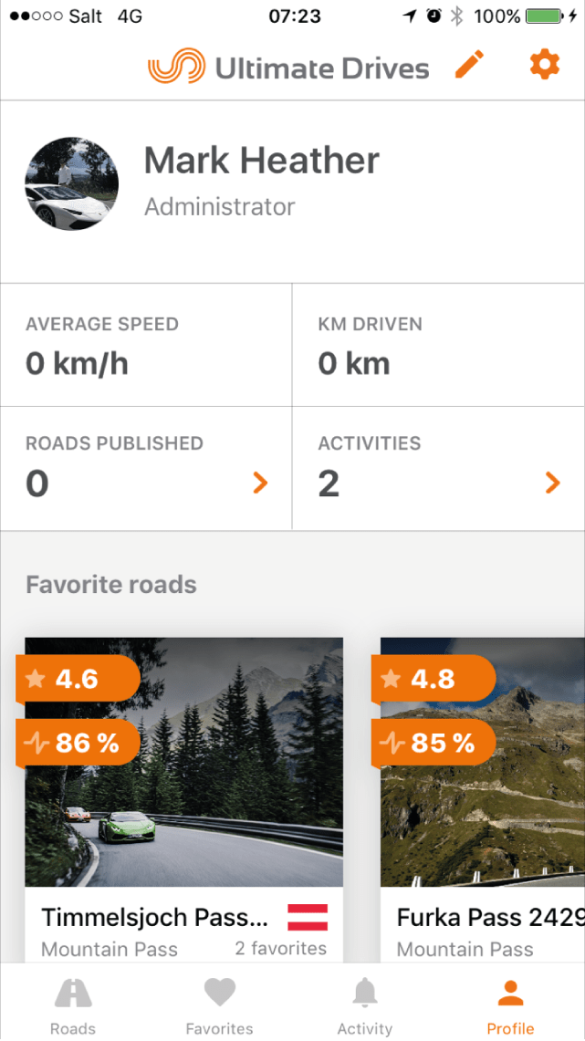 Personalise your profile on the Ultimate Drives App