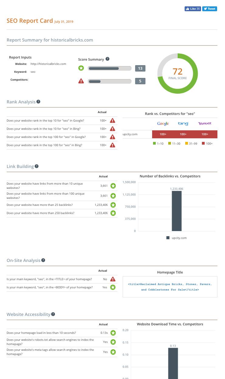 Free SEO Report Card: Website Grader   UpCity