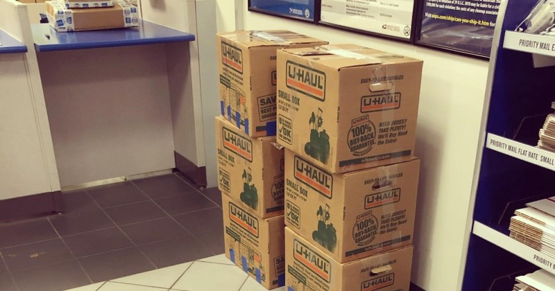 Boxes of books at the post office