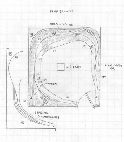 C&O Rend Branch, WV track plan HO