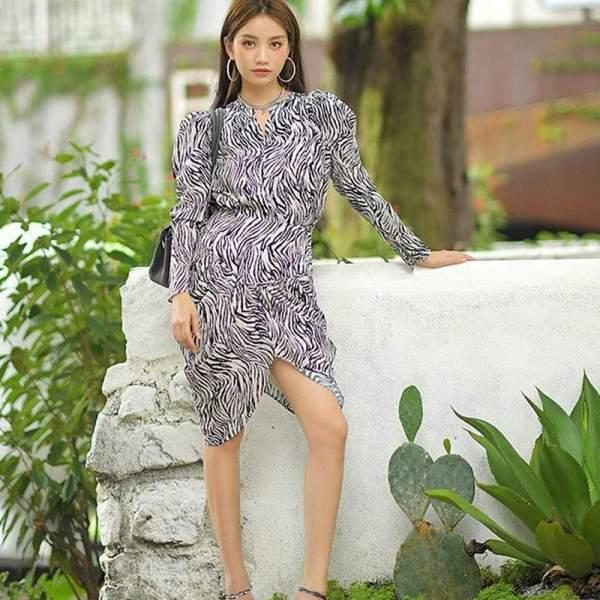 Lovena Printed Front Drape Cut Dress