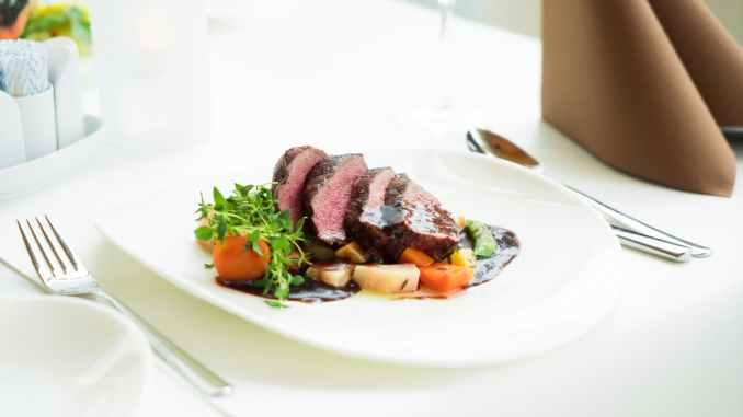 sliced steak on plate