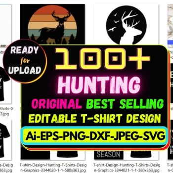 100+Hunting Best Selling T-shirt Design Bundle Cheap Price