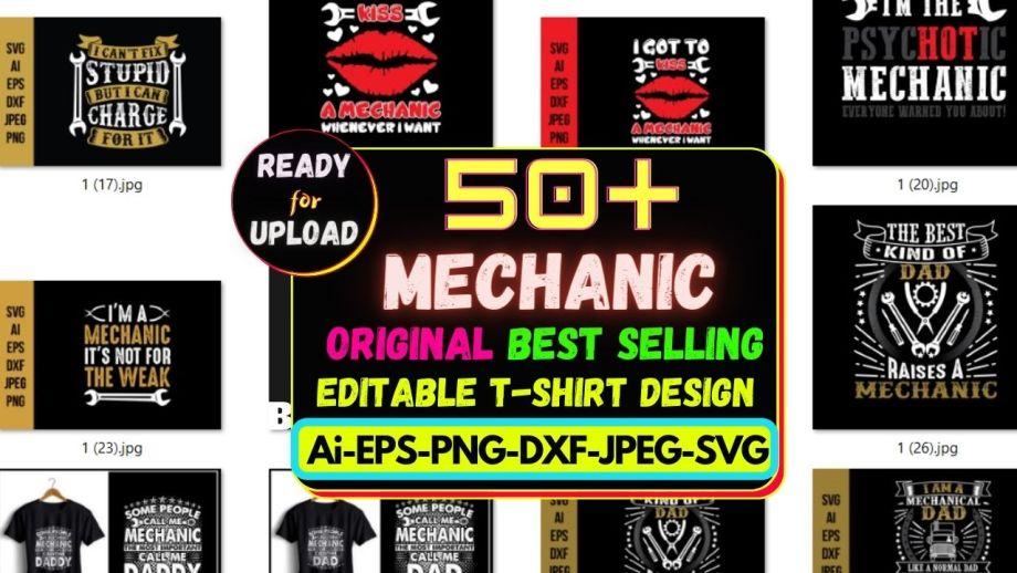 50+ Mechanic Best Selling T-shirt Design Bundle Cheap Price 2021