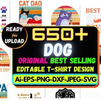 650+Dog Best Selling T-shirt Design Bundle Cheap Price