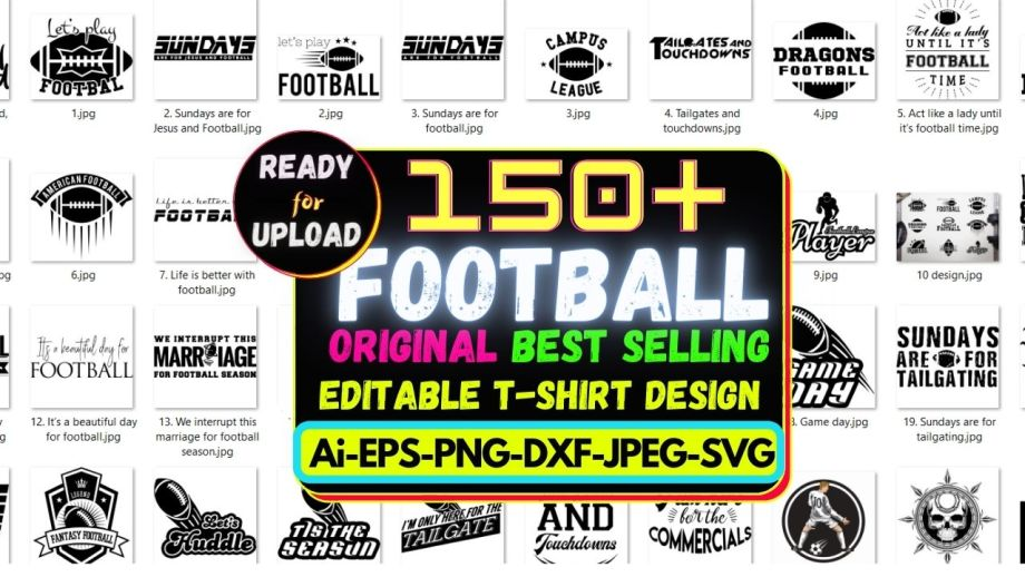 150+Football Best Selling T-shirt Design Bundle Cheap Price 2021
