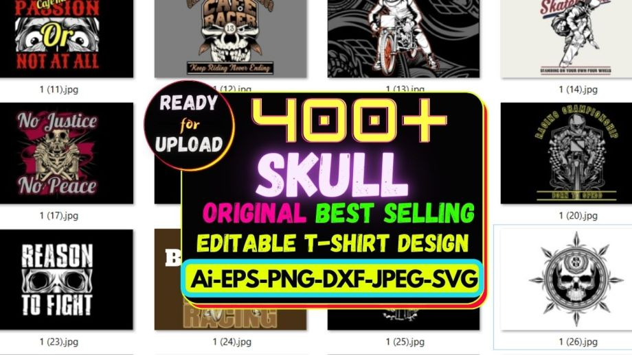 400+ Skull Best Selling T-shirt Design Bundle Cheap Price