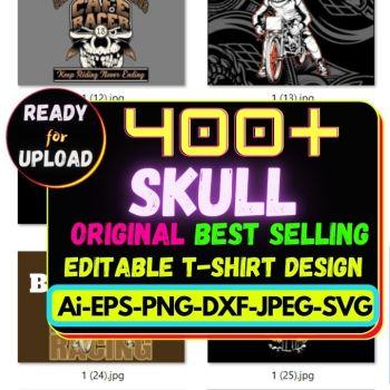 400+ Skull Best Selling T-shirt Design Bundle Cheap Price