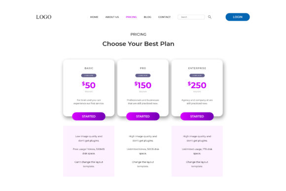 50+Editable Pricing Table Design Bundle Cheap Price