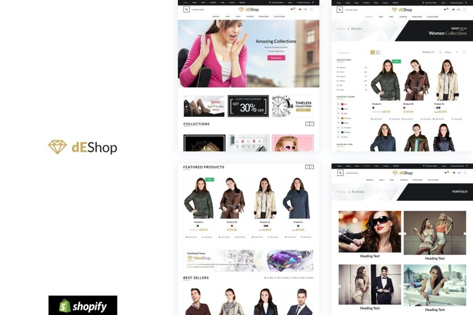 Best dEShop - Responsive Shopify Store Template Cheap Price