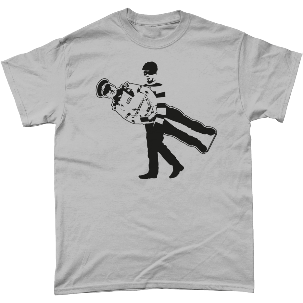 Cardboard Cop Policeman T-Shirt Design Sports Grey