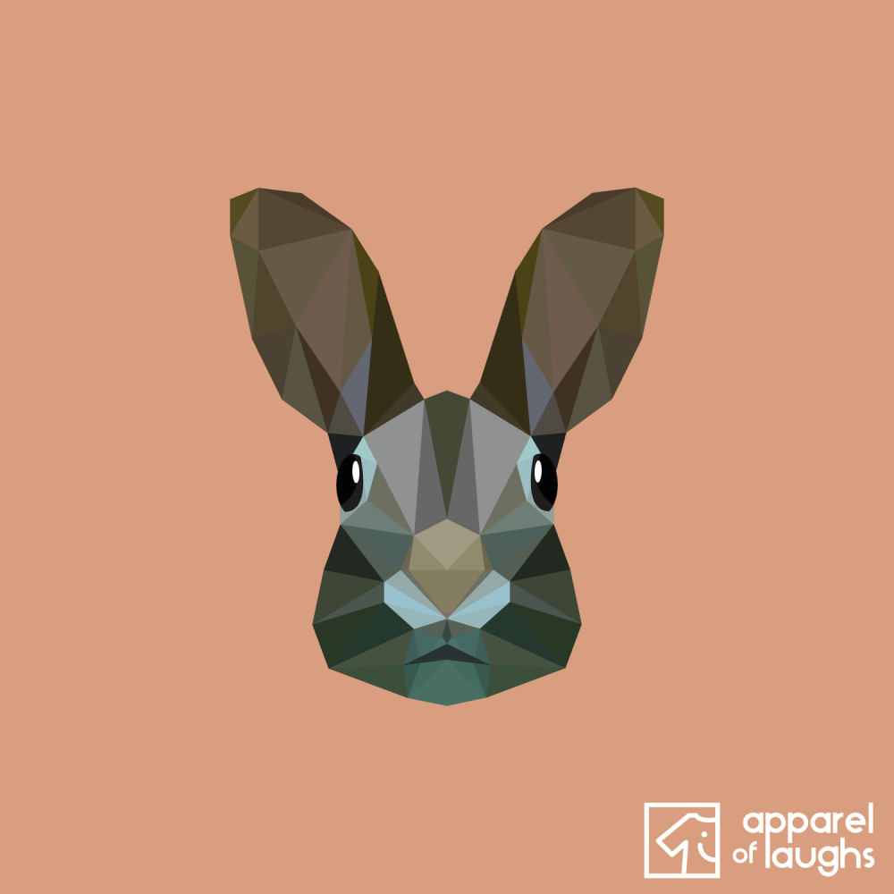Low Poly Rabbit T-Shirt Design Old Gold