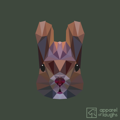 Low Poly Squirrel T-Shirt Design Military Green