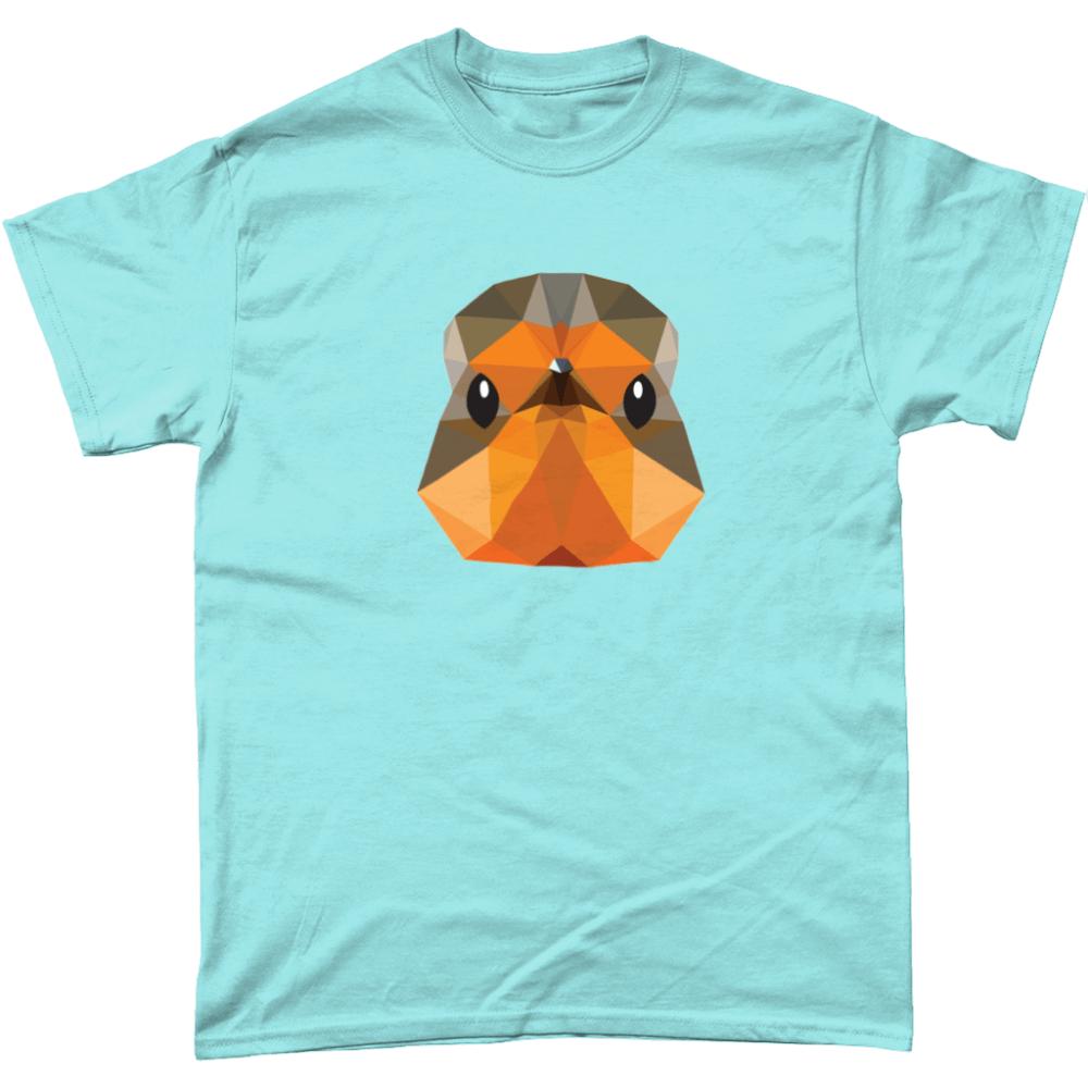 Low Poly Robin T Shirt Design Light Blue